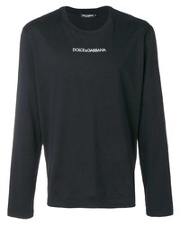 schwarzes bedrucktes Langarmshirt von Dolce & Gabbana