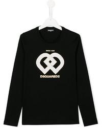 schwarzes bedrucktes Langarmshirt von DSQUARED2