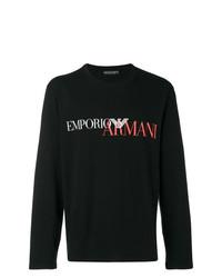 schwarzes bedrucktes Langarmshirt von Emporio Armani