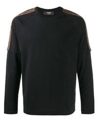 schwarzes bedrucktes Langarmshirt von Fendi