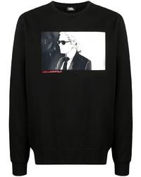 schwarzes bedrucktes Langarmshirt von Karl Lagerfeld