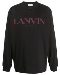 schwarzes bedrucktes Langarmshirt von Lanvin