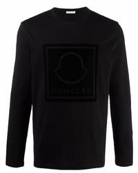 schwarzes bedrucktes Langarmshirt von Moncler