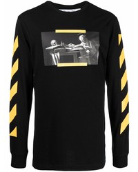 schwarzes bedrucktes Langarmshirt von Off-White