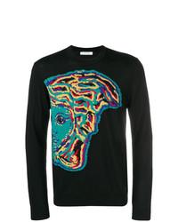 schwarzes bedrucktes Langarmshirt von Versace Collection