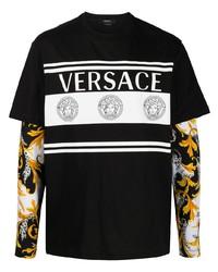 schwarzes bedrucktes Langarmshirt von Versace