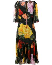 schwarzes bedrucktes Midikleid von Dolce & Gabbana