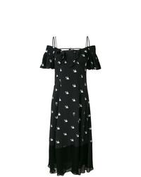 schwarzes bedrucktes schulterfreies Kleid von McQ Alexander McQueen