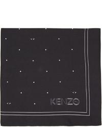 schwarzes bedrucktes Seide Einstecktuch von Kenzo