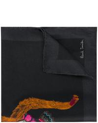 schwarzes bedrucktes Seide Einstecktuch von Paul Smith