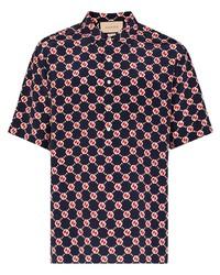 schwarzes bedrucktes Seide Kurzarmhemd von Gucci