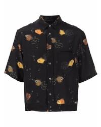 schwarzes bedrucktes Seide Kurzarmhemd von Lanvin