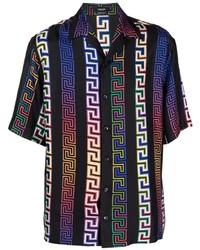 schwarzes bedrucktes Seide Kurzarmhemd von Versace