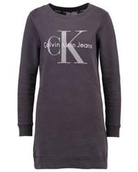 schwarzes bedrucktes Sweatkleid von Calvin Klein
