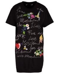 schwarzes bedrucktes Sweatkleid von Moschino
