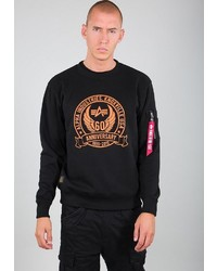 schwarzes bedrucktes Sweatshirt von Alpha Industries