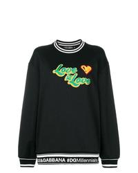 schwarzes bedrucktes Sweatshirt von Dolce & Gabbana