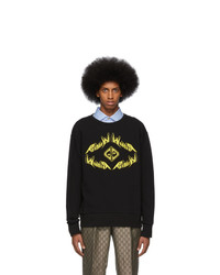 schwarzes bedrucktes Sweatshirt von Gucci