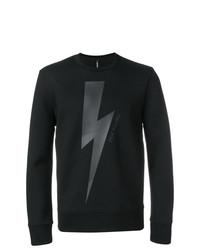 schwarzes bedrucktes Sweatshirt von Neil Barrett