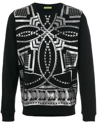 schwarzes bedrucktes Sweatshirt von Versace