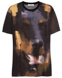 schwarzes bedrucktes T-Shirt mit einem Rundhalsausschnitt