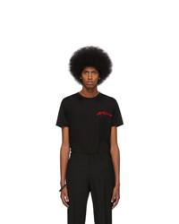 schwarzes bedrucktes T-Shirt mit einem Rundhalsausschnitt von Alexander McQueen