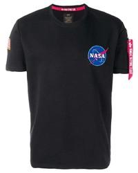 schwarzes bedrucktes T-Shirt mit einem Rundhalsausschnitt von Alpha Industries