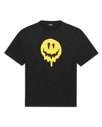 schwarzes bedrucktes T-Shirt mit einem Rundhalsausschnitt von Balenciaga