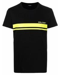 schwarzes bedrucktes T-Shirt mit einem Rundhalsausschnitt von Balmain