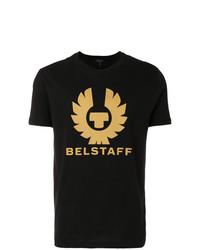 schwarzes bedrucktes T-Shirt mit einem Rundhalsausschnitt von Belstaff