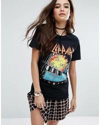 schwarzes bedrucktes T-Shirt mit einem Rundhalsausschnitt von Boohoo