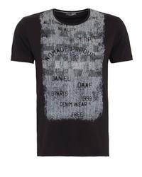 schwarzes bedrucktes T-Shirt mit einem Rundhalsausschnitt von DANIEL DAAF