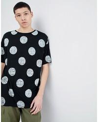 schwarzes bedrucktes T-Shirt mit einem Rundhalsausschnitt von Dr. Denim