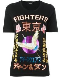 schwarzes bedrucktes T-Shirt mit einem Rundhalsausschnitt von Dsquared2