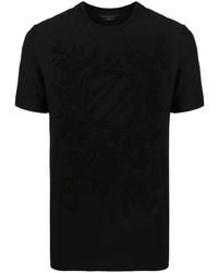 schwarzes bedrucktes T-Shirt mit einem Rundhalsausschnitt von Ermenegildo Zegna