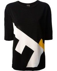 schwarzes bedrucktes T-Shirt mit einem Rundhalsausschnitt von Fendi