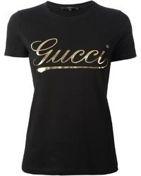 schwarzes bedrucktes T-Shirt mit einem Rundhalsausschnitt von Gucci