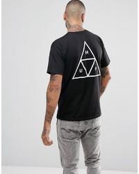 schwarzes bedrucktes T-Shirt mit einem Rundhalsausschnitt von HUF