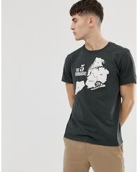 schwarzes bedrucktes T-Shirt mit einem Rundhalsausschnitt von J.Crew Mercantile