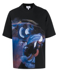 schwarzes bedrucktes T-Shirt mit einem Rundhalsausschnitt von Kenzo