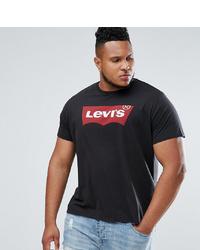 schwarzes bedrucktes T-Shirt mit einem Rundhalsausschnitt von Levi's