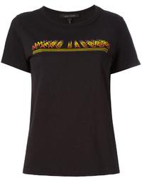schwarzes bedrucktes T-Shirt mit einem Rundhalsausschnitt von Marc Jacobs