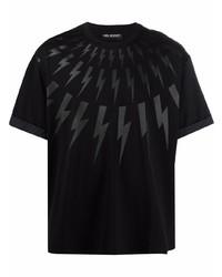 schwarzes bedrucktes T-Shirt mit einem Rundhalsausschnitt von Neil Barrett