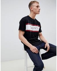 schwarzes bedrucktes T-Shirt mit einem Rundhalsausschnitt von New Look