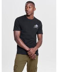 schwarzes bedrucktes T-Shirt mit einem Rundhalsausschnitt von ONLY & SONS