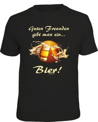 schwarzes bedrucktes T-Shirt mit einem Rundhalsausschnitt von RAHMENLOS