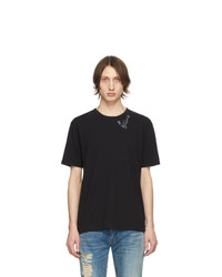 schwarzes bedrucktes T-Shirt mit einem Rundhalsausschnitt von Saint Laurent