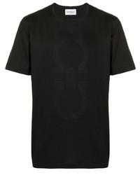 schwarzes bedrucktes T-Shirt mit einem Rundhalsausschnitt von Salvatore Ferragamo