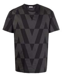 schwarzes bedrucktes T-Shirt mit einem Rundhalsausschnitt von Valentino