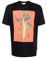 schwarzes bedrucktes T-Shirt mit einem Rundhalsausschnitt von Z Zegna